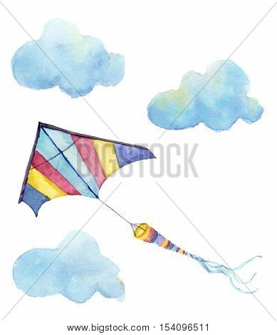 Watercolor kite air set. Hand drawn vintage kite with clouds and retro design. Illustrations isolated on white background.