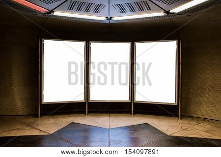 White Blank Template Advertisement Board Signle Triple Train Station Outdoors Indoors Public Space C