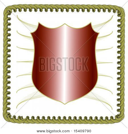 Vector Shield With Golden Wings And Border