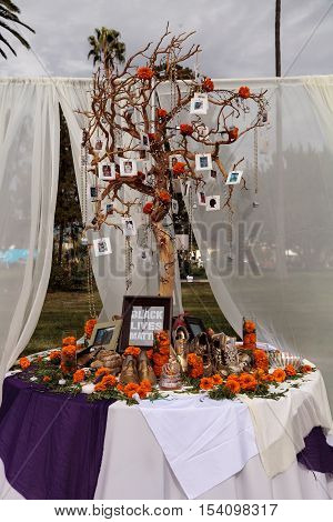 Los Angeles, CA, USA - October 29, 2016: Black Lives Matter alter at Dia de los Muertos, Day of the dead, in Los Angeles at the Hollywood Forever Cemetery grounds. Editorial use only.
