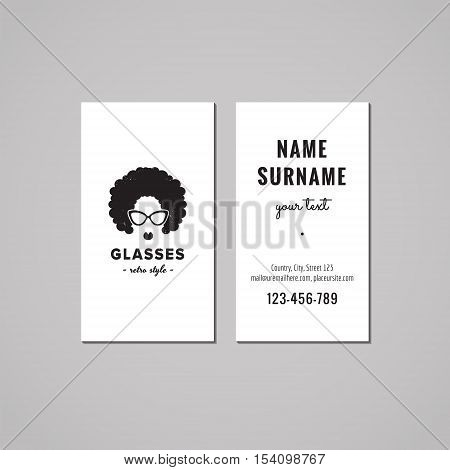 Eyeglasses business card design concept. Logo with an afro hair woman. Vintage hipster and retro style.