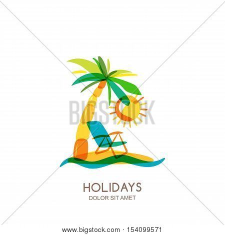 Vector Logo Design Template. Colorful Island, Palms And Beach Chair On Seaside.