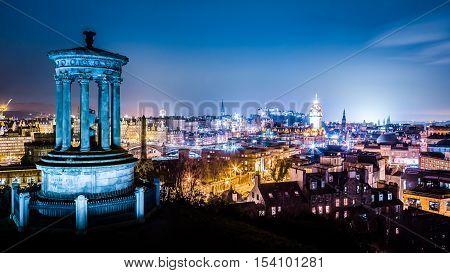 Edinburgh At Night View From Calton Hill