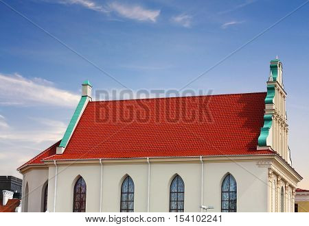Gable of the medieval structure in the style of the Northern Renaissance
