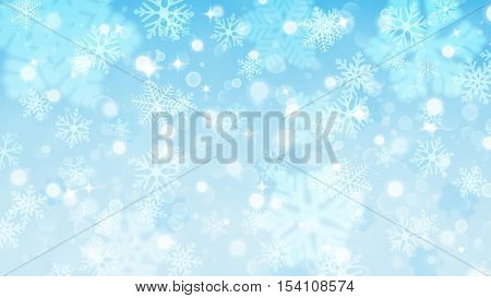 Christmas Background Of Fuzzy And Focused Snowflakes