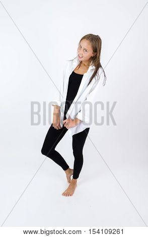 Barefoot Young  Girl With Brown Hair Isolated On White