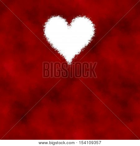Romantic red beautiful background with white diffuse heart