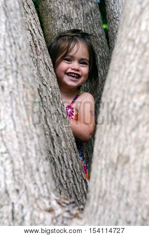 Cute little girl is playing hide and seek outdoors.