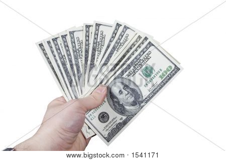 Hand Holding 100 Dollar Bills