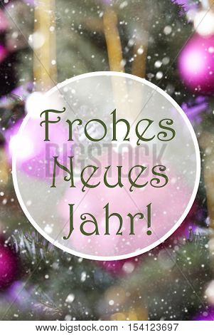 German Text Frohes Neues Jahr Means Happy New Year. Vertical Christmas Tree With Rose Quartz Balls. Close Up Or Macro View. Christmas Card For Seasons Greetings. Snowflakes For Winter Atmosphere.