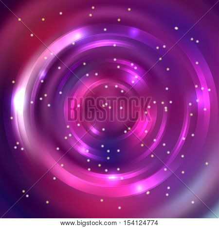 Abstract Circle Background, Vector Design. Glowing Spiral. The Energy Flow Tunnel. Pink, Purple Colo