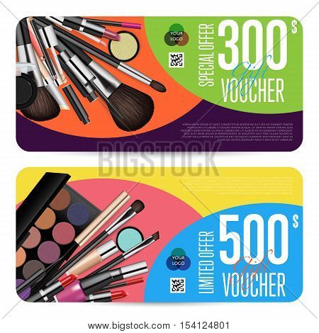Special offer coupon or gift voucher. Cosmetic voucher layout. Fashion voucher. Cosmetics product sale voucher. Promo voucher. Design of voucher. Promo coupon or voucher. Voucher. Cosmetic voucher template vector. Gift voucher layout or discount voucher.