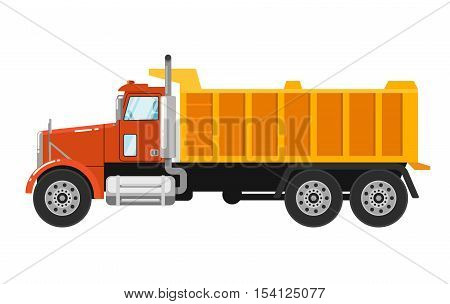 Big yellow tipper truck isolated on white background vector illustration. Modern dump truck side view. Vehicle for cargo transportation. Construction machinery. Design truck element. Truck icon. Freight and work vehicles, truck.
