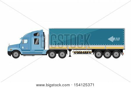 Commercial freight truck isolated on white background vector illustration. Modern lorry truck side view. Vehicle for cargo transportation. Trucking and delivery service. Design truck element. Truck icon. Freight and work vehicles, truck.