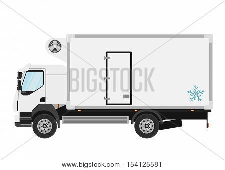 Commercial refrigerated truck isolated on white background vector illustration. Modern lorry truck side view. Vehicle for cargo transportation. Trucking and delivery service. Design truck element. Truck icon. Freight and work vehicles, truck.