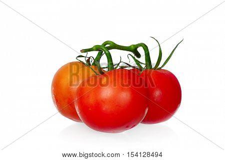 Extreme close-up image of of tomatoes, studio isolated on white background