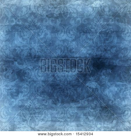 Large Denim Blue Damask Background Seamless
