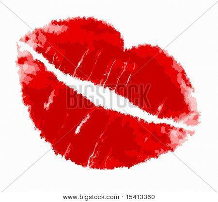 Vector Red Lipstick Kiss