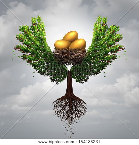 Transfer funds financial concept and international money transfer symbol as a tree shaped as a bird with wings transporting a nest egg with gold eggs with 3D illustration elements.