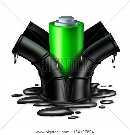 Battery energy concept as a green clean fuel electric object breaking out of a dirty oil can with dripping petroleum as a power technology symbol for the replacement of fossil fuels as a 3D illustration on a white background.