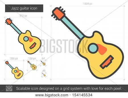 Jazz guitar vector line icon isolated on white background. Jazz guitar line icon for infographic, website or app. Scalable icon designed on a grid system.
