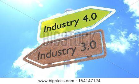 Two street signs in front of blue sky with industry 4.0 pointing to the future and rusty 3.0 pointing to the past 3D illustration