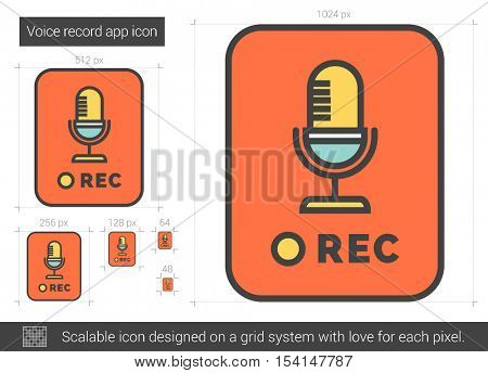 Voice record app vector line icon isolated on white background. Voice record app line icon for infographic, website or app. Scalable icon designed on a grid system.