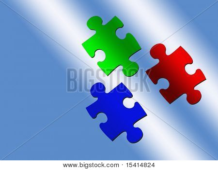 Puzzle Pieces, Red, Green, Blue