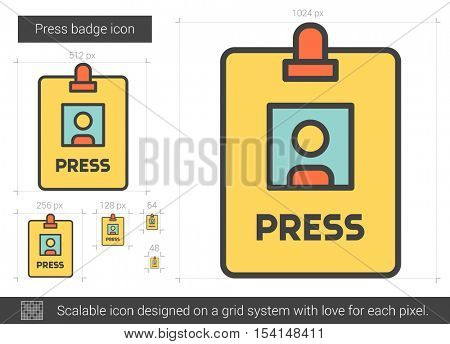 Press badge vector line icon isolated on white background. Press badge line icon for infographic, website or app. Scalable icon designed on a grid system.