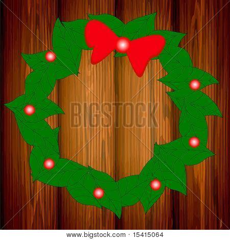 Vector Wreath On Wood For Christmas