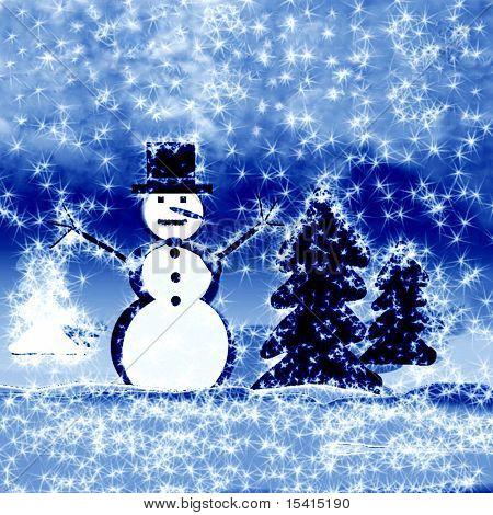 Snowman Snowy Winter Scene