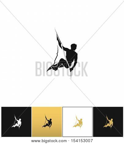 Rock climber logo or mountain climbing adventure silhouette vector icon. Rock climber logo or mountain climbing adventure silhouette program on black, white and gold background