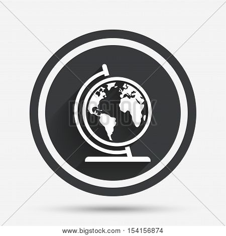 Globe sign icon. World map geography symbol. Globe on stand for studying. Circle flat button with shadow and border. Vector
