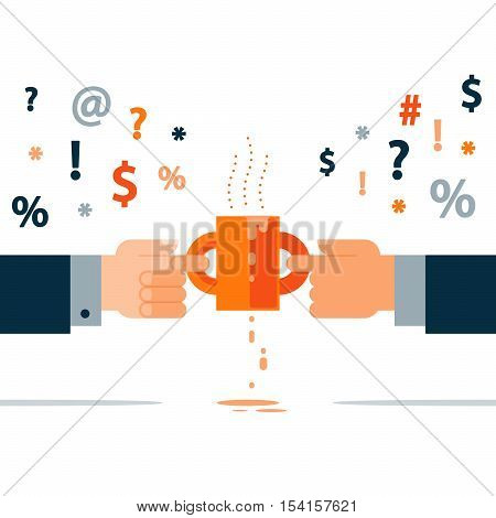 Flat design vector illustration. Compromise and disagreement concept