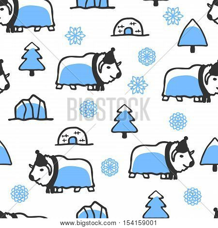 Seamless pattern with cute doodle musk-ox. North animal with snowflakes, igloo and icebergs. Funny bull wears scarf