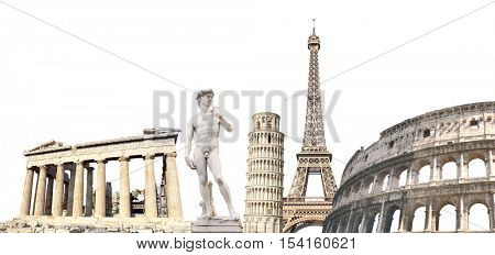 Famous monuments of the Europe - Eiffel tower in Paris, Leaning Tower of Pisa; Parthenon in Athens, Michelangelo's David. Isolated on white background