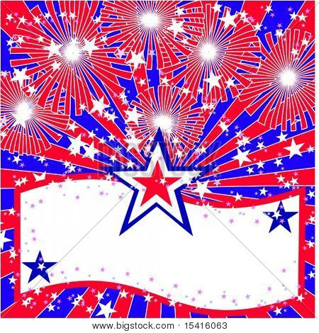 Vector Star Fireworks And Copyspace Banner
