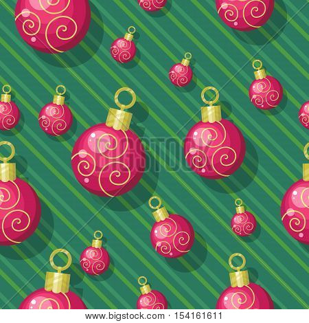 Christmas toys vector seamless pattern. Red balls to decorate Christmas tree on winter holidays on striped background. Flat design. For gift wrapping, greeting cards, invitations, printings design