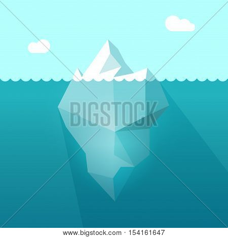 Iceberg in ocean water vector illustration, big iceberg floating in sea waves with huge underwater part and shadow