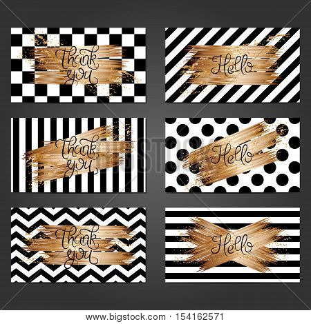 Collection of 6 vintage card templates in black and white colors and with copper brushstrokes. For the wedding marriage save the date cards invitations greetings. Grunge retro design with copper paint.