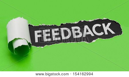 Torn green paper revealing the word Feedback
