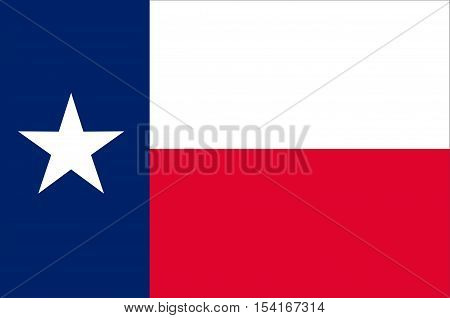 Flag of Texas is the second largest state of United States. Vector illustration