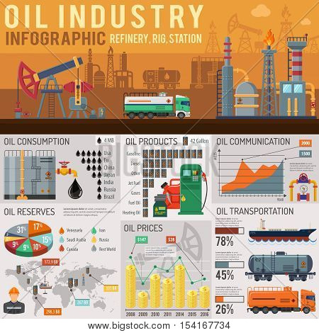 Oil industry Infographics with Flat Icons Oil Consumption, Oil Reserves, Products and Oil Transportation. Vector illustration.