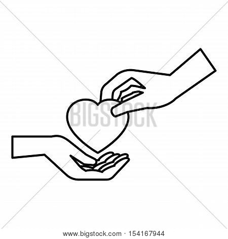 Hand gives heart icon. Outline illustration of hand gives heart vector icon for web