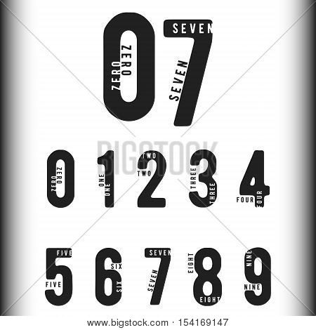 Set of numbers with names. Number 0 1 2 3 4 5 6 7 8 9 for logo or icon. Vector illustration.