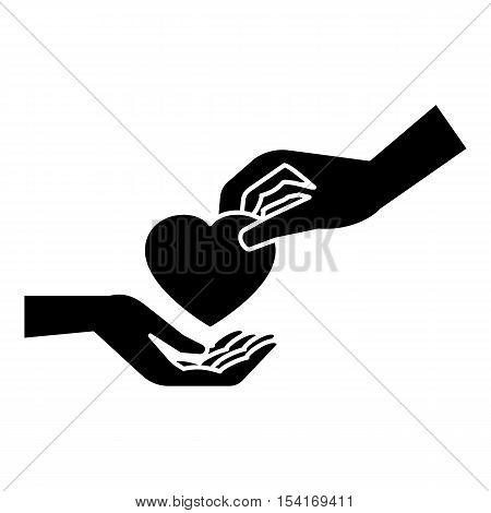 Hand gives heart icon. Simple illustration of hand gives heart vector icon for web
