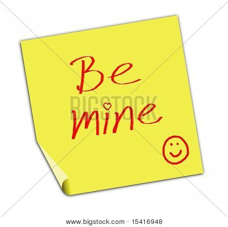 Be Mine Post It Note