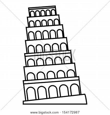 Leaning tower of Pisa icon. Outline illustration of leaning tower of Pisa vector icon for web