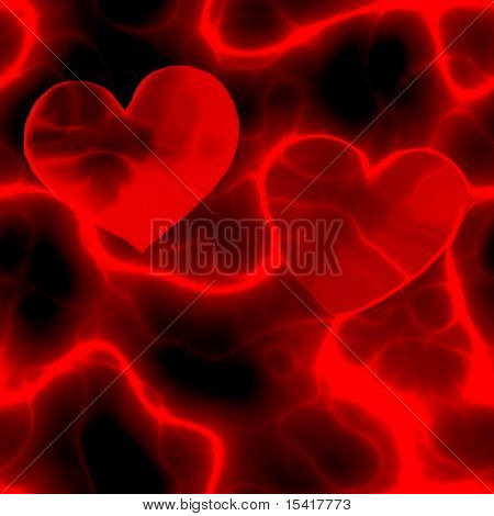 Electrified Hearts In Red