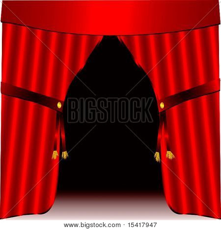 Vector Stage And Red Satin Drapes